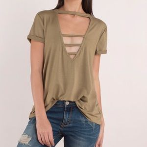 Basic Plunging Front Olive Strappy Tee